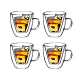 Double Wall Espresso Glass with Handle, for Tea, Whiskey, and More, By Bruntmor (4 oz, Set of 4)