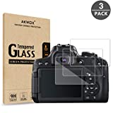 [3-Pack] Tempered Glass Screen Protector for Canon 700D 750D 760D 800D 650D T5i T6i T6S T7i, Akwox [0.3mm 2.5D High Definition 9H] Optical LCD Premium Glass Protective Cover (Color: Glass screen protector)