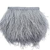 Sowder Ostrich Feathers Trims Fringe With Satin Ribbon Tape Dress Sewing Crafts Costumes Decoration Pack of 2 yards(light grey) (Color: light grey)