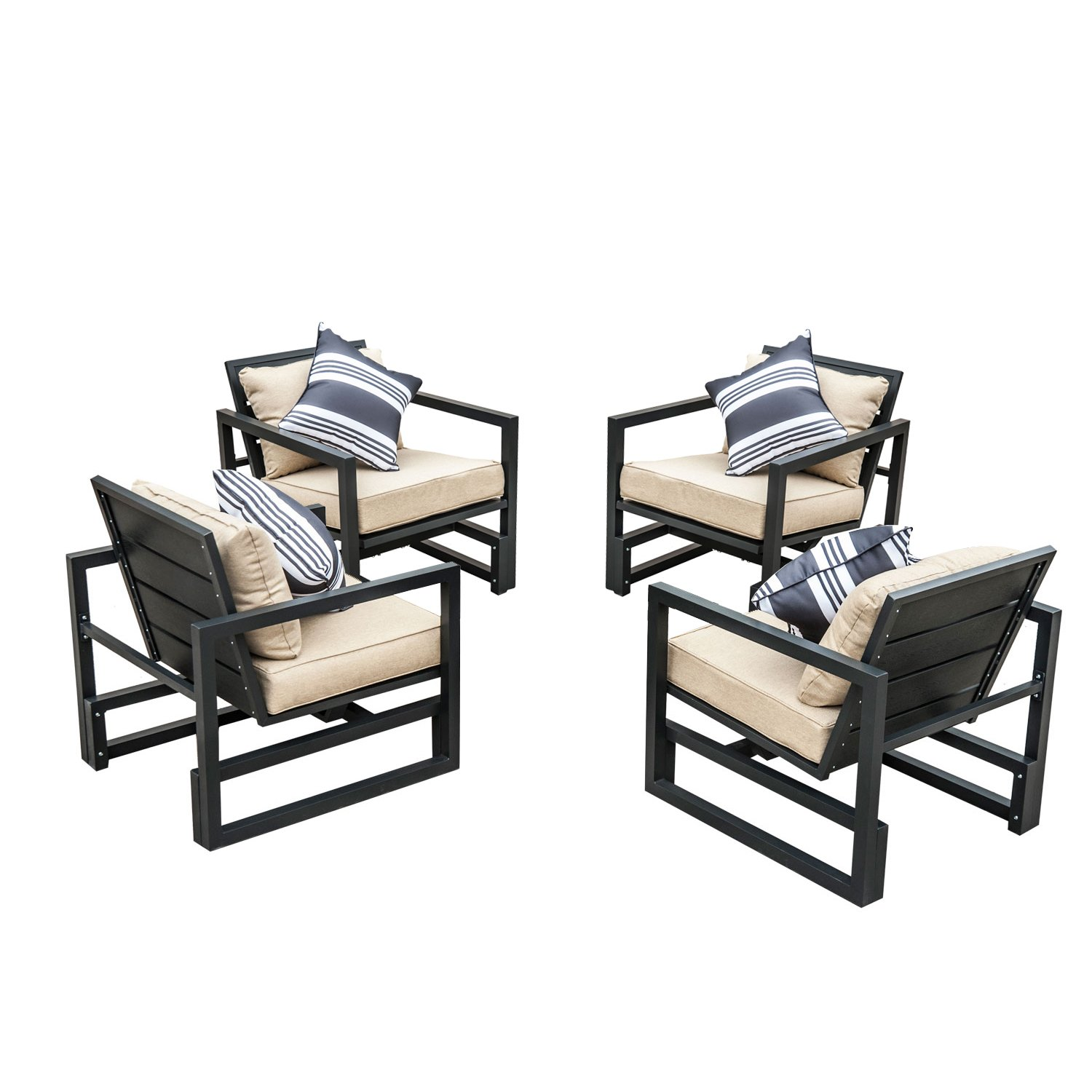 4 x alu sessel sitzgarnitur loungesessel aluminium relax sessel non wood gartenm bel stuhl m bel. Black Bedroom Furniture Sets. Home Design Ideas