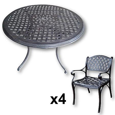 Lazy Susan - Table ronde 120 cm LILY et 4 chaises de jardin - Salon de jardin en aluminium moulé, coloris Bronze ancien (chaises KATE)