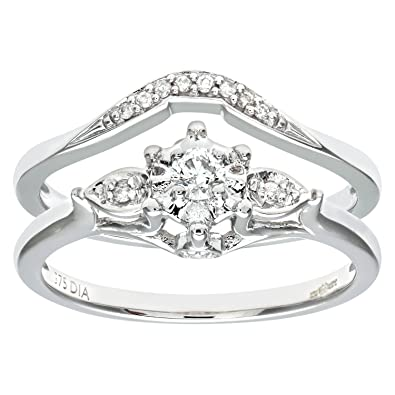 Naava 9ct White Gold 0.13ct Diamond Bridal Set Ring