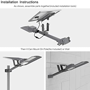 TENKOO LED Outdoor Solar Street Lights Dusk to Dawn (Light Sensor Included), IP65 Outdoor Solar Flood Light 60W 6000 Lumens with Remote Control Security Lighting for Yard Garden Pathway (Color: Grey)
