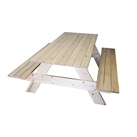 estrucmader - Mesa de picnic de madera mod. Ecobrico 1,6, color roble/cerezo/nogal/natural