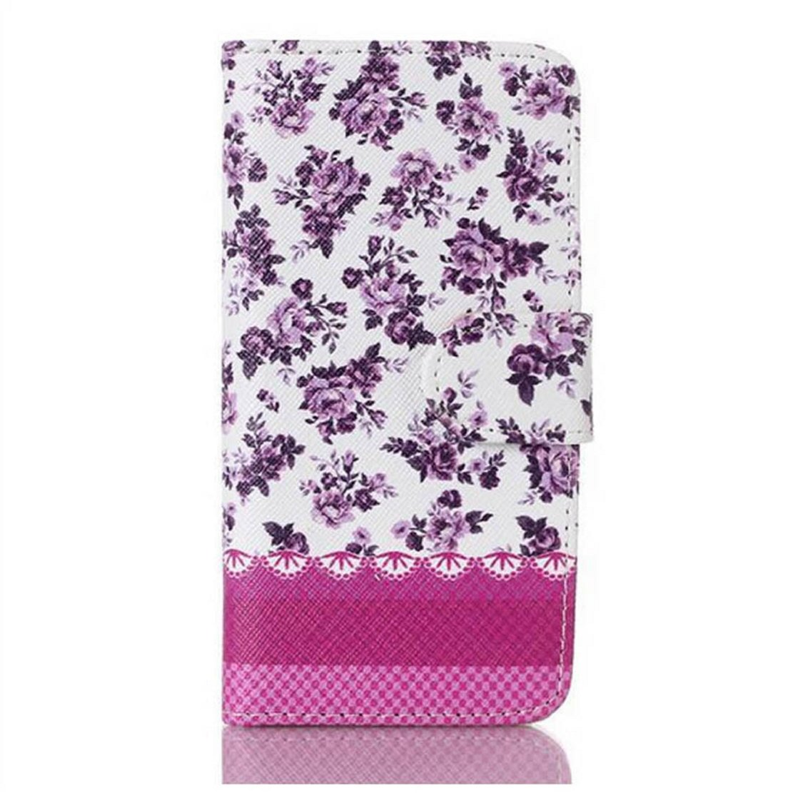 Floral Jacquard Stand Wallet Leather Cover Case For iPhone 5 5G 5S (Purple)