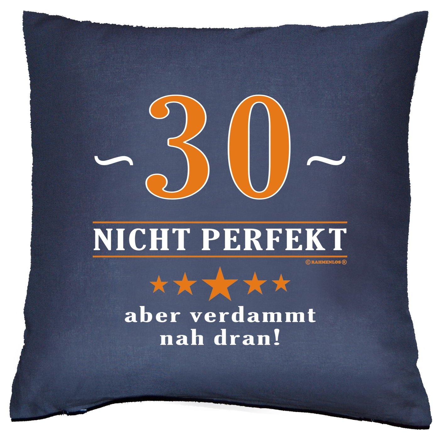 Kissen mit Innenkissen – Über 30 – nicht perfekt aber verdammt nahe dran! – zum 30. Geburtstag Geschenk – 40 x 40 cm – in navy-blau günstig bestellen