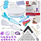 Kitchen Strike Cake Decorating Kit - The Complete 144 Pieces Set With Extra Bonus Accessories Of Fondant Tools, Spoons, Piping Bag Ties and Book - Smooth Spinner Turntable With Non-slip Silicone Base (Color: White, Blue, Red, Grey, Purple, Black)