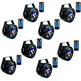 Stage Lights, SAHAUHY RGBW 8 Channel Remote Control with Sound Activated, Party Lights Compatible with DMX for Bar Club Party Wedding (8 Packs) (Color: Black 12, Tamaño: Large)