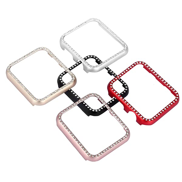 Henstar Compatible with Apple Watch Case 38mm 42mm,Compatible with iWatch Face Bling Crystal Diamonds Plate Covers Protective Frame Compatible with Apple Watch Series 3/2/1 (5 Pack, Series 4 44mm) (Color: 5 Pack, Tamaño: Series 4 44mm)