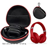 Headphone Case for Beats Studio3, Studio2.0, Studio Wireless Headphones, Universal Foldable Headphones Like Ghostek Rapture Series, ATH M50X/ M50/ M40X/ M30X (Color: Black with red zip, Tamaño: Compact size)