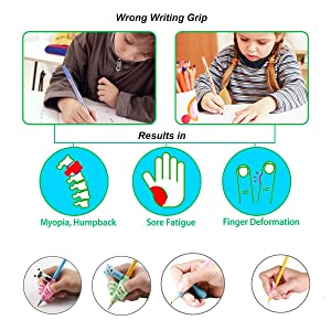 Pencil Grips for Kids Handwriting, Pen Grippers for Boys Girls, Preschool Writing Training Aid Grip, Toddler Beginners Kindergarten Writing Finger Grip, 6 Stage Posture Correction Tools(13 PCs) (Color: Color 2)