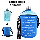 QuiFit 1 Gallon Water Bottle Reusable Leak-Proof Drinking Water Jug for Outdoor Camping BPA Free Plastic Sports Water Bottle with Daily Time Marked (Light Blue+Bag) (Color: 1 gallon/light blue, Tamaño: 1 gallon)