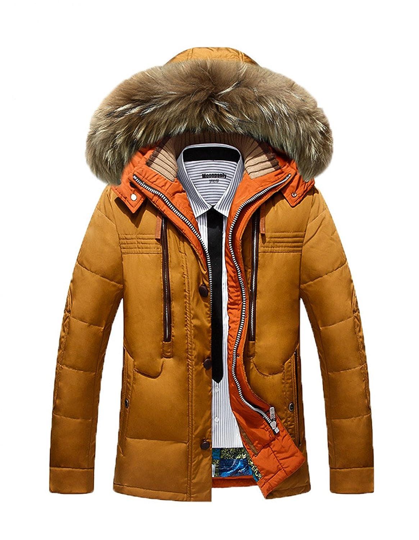 BININBOX® Herren Fashion Daunenmantel Daunenjacke Parka mit Fellkapuze Wintermantel