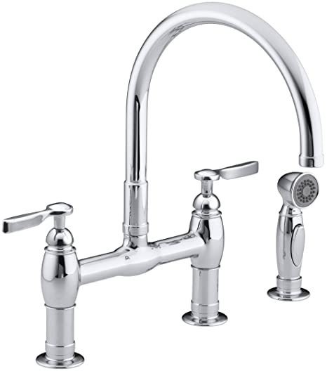 KOHLER K-6131-4-CP Parq Deck-Mount Kitchen Faucets with Spray, Polished Chrome