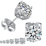 GEMSME 18K White Gold Plated Round Cubic Zirconia Stud Earrings Pack of 6 (Color: White)
