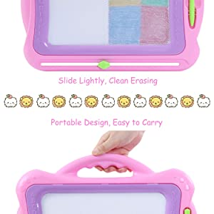 SGILE Magnetic Drawing Board, Doodle Board Drawing Writing Sketching Pad for Toddlers Kids, Pink (Color: Pink)
