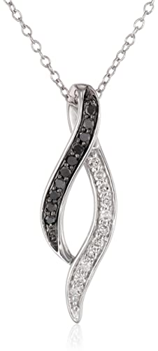 Sterling-Silver-Black-and-White-Diamond-Infinity-Ribbon-Pendant-Necklace-1-8-cttw-I-J-Color-I1-I2-Clarity-18-