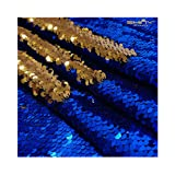 Reversable Sequin Fabric 5mm Mermaid Shiny Flip Sequins Reversible Sequin Fabric Material for Sewing 9 Feet 3 Yards Blue to Gold -1019S (Color: Blue to Gold, Tamaño: 3 Yards)