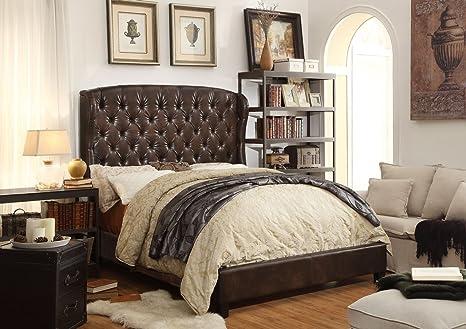 Millbury Home Feliciti Espresso Tufted Upholstery Platform Bed