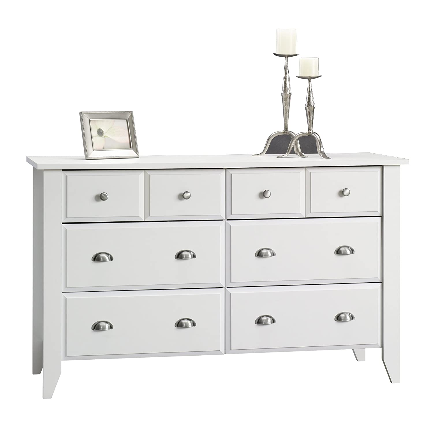 Large Bedroom Dresser Storage Drawer Modern 6 Wood Chest Of Drawers White Bro