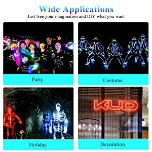Ice Blue SZMAITOU 10ft EL Wire kit Car Interior Neon Light LED Costume Lights with Battery Controller and USB Driver Halloween Christmas Home Holiday Decoration Cosplay 3m//10ft