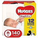 HUGGIES Snug & Dry Diapers, Size Newborn, 140 Count, GIGA JR PACK (Packaging May Vary) (Color: 140 Count, Tamaño: Newborn)
