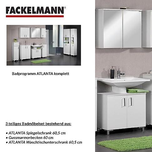Fackelmann ATLANTA 3 pezzi Mobile da bagno Set - mobiletto/lavabo/specchio