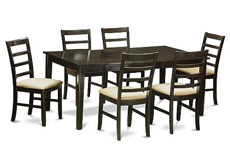 East West Furniture HEPF7-CAP-C 7-Piece Dining Table Set, Cappuccino Finish