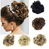 FUT Scrunchy Scrunchie Hair Bun Updo Hairpiece Ponytail Hair Extensions Wavy Curly Messy Hair Bun Extensions Donut Chignons Hair Piece ginger brown mix bleach blonde