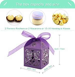 COTOPHER 60 Pack Love Heart Laser Cut Candy Boxes Wedding Party Favor Boxes Small Gift Boxes for Wedding Bridal Shower Baby Shower Birthday Party (60, Purple) (Color: Purple)