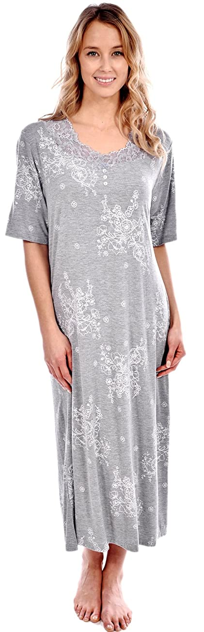 Patricia Women's Short Sleeve Floral Long Nightgown 1