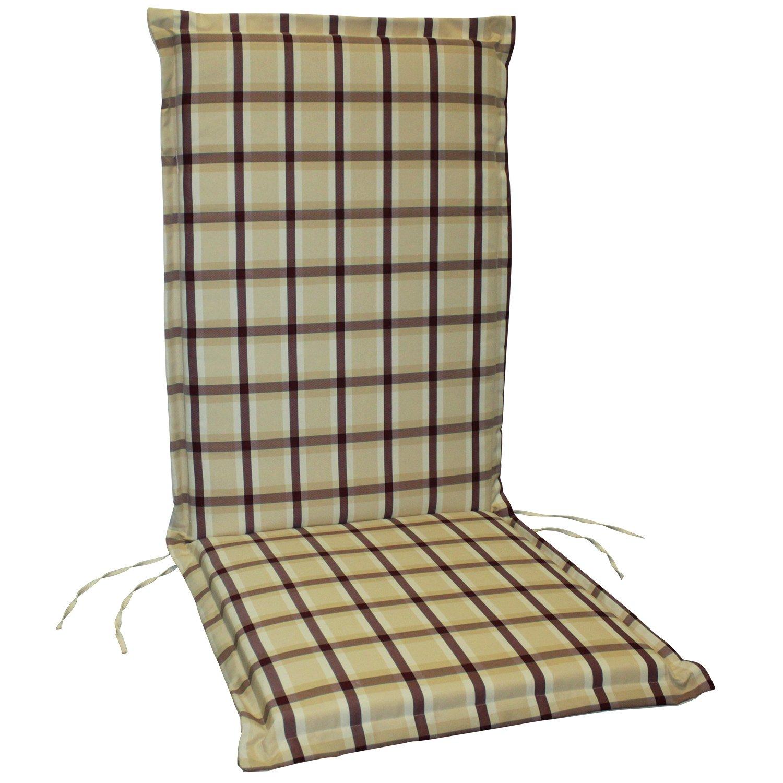 indoba® IND-70409-AUHL - Serie Comfort - Gartenstuhl Auflage - Hochlehner, Weinrot, kariert