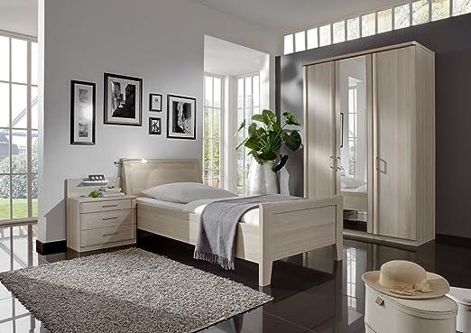 Schlafzimmer, Schlafzimmermöbel, Set, Schlafzimmereinrichtung, 4-teilig, Drehturenschrank, Bett, Nachtschrank, Edel Esche, 100x200