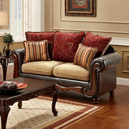 Furniture of America Barrington Fabric Loveseat - Tan / Espresso