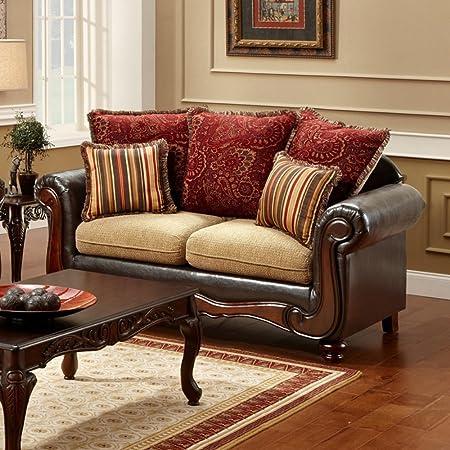 Furniture of America Barrington Fabric Loveseat - Tan / Espresso