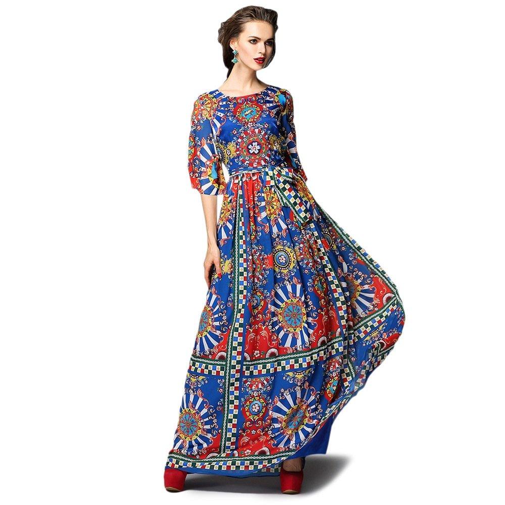 Dezzal Women's Vintage Geometric Print Cocktail Party Maxi Dress 2
