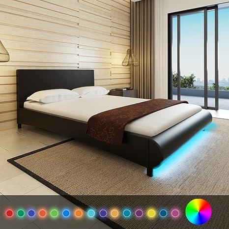 Anself Polsterbett Doppelbett Ehebett Gästebett Bett aus Kunstleder 140x200cm mit Matratze und LED-Streifen Schwarz