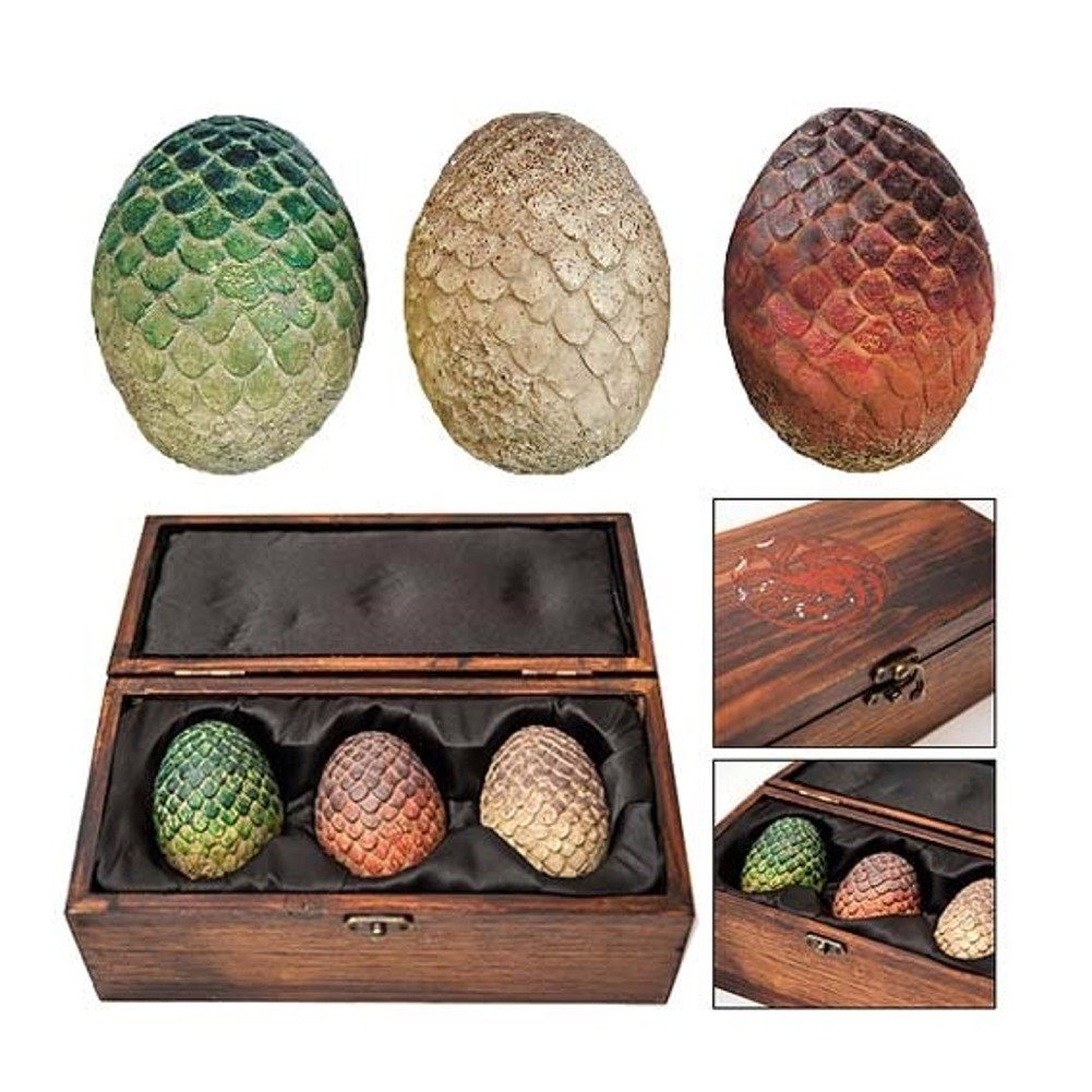 Game of Thrones Dragon Egg Prop Replica Set in Wooden Box by Animewild