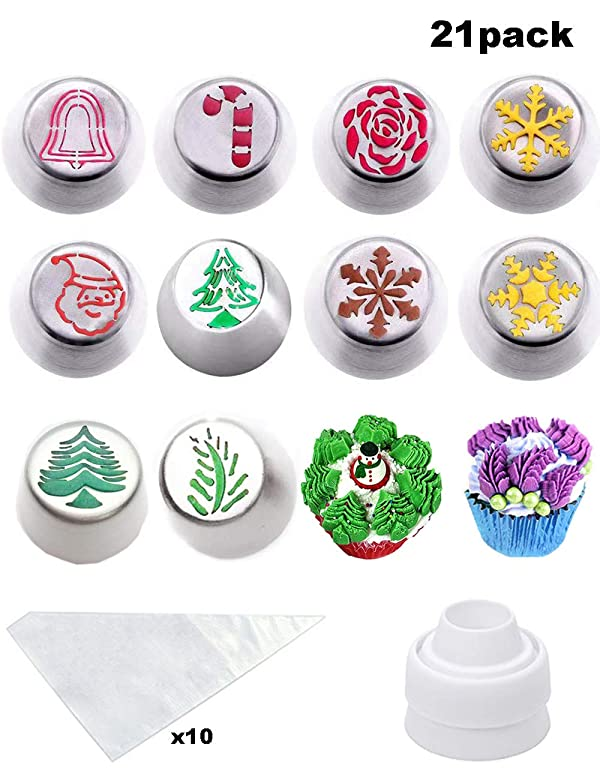 Cofe-BY Russian Piping Tips set for Cake Decorating-21pcs Icing Nozzles, Christmas Design Party Cupcake Icing Tips Pastry Baking Kits 10 Russian Nozzles-1 Coupler -10 Disposable Pastry Bags (Color: Silver)