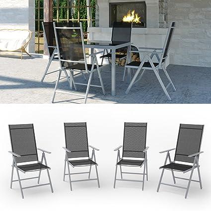 Gartenmöbel Sitzgruppe Gartengarnitur Gartenset Sitzgarnitur Glas Alu Tisch 87x87 + 4 Stuhle