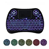 (Updated 2018, Rainbow Backlit) Mini Wireless Keyboard with Touchpad Mouse Rechargeable Combo, Teepao 7 Color Backlight Mechanical Handheld Keyboard for Ipad, Cell Phone, Laptop, Smart TV, PC (Tamaño: 7 Color Backlit)