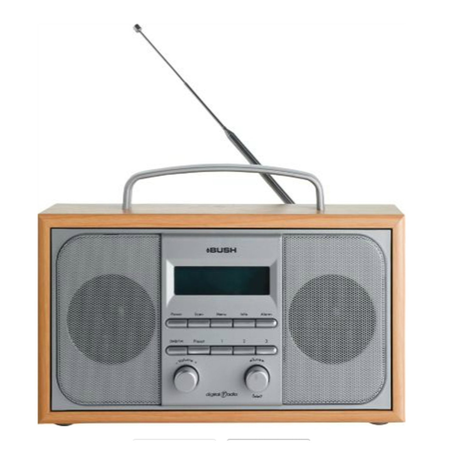 bush arden dab fm stereo radio alarm clock wooden case ebay. Black Bedroom Furniture Sets. Home Design Ideas