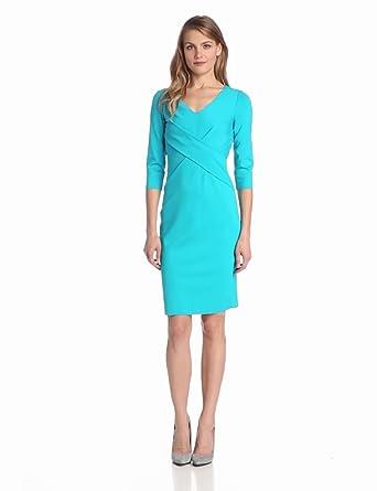 ELIE TAHARI Women's Lynn Double Knit 3/4 Sleeve Dress, Aruba, 0