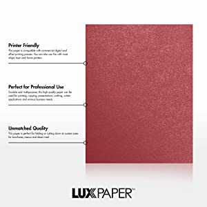LUXPaper 8.5 x 11 Paper for Crafts and Printing in Mars Metallic - Stardream, Scrapbook and Office Supplies, 50 Pack (Red) (Color: Mars Metallic - Stardream?, Tamaño: 50 Qty.)