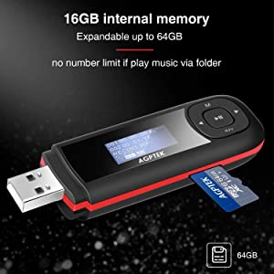 AGPTEK 16GB USB MP3 Player with Replaceable AAA Battery, USB MP3 Player Flash Drive Support Recording, FM Radio, Expandable up to 64GB, Black (Color: U3 16GB)