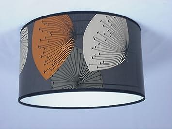 abat jour fait main 28cm sanderson dandelion clocks grey orange cuisine maison. Black Bedroom Furniture Sets. Home Design Ideas