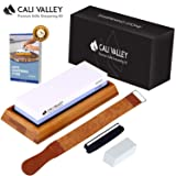 Cali Valley Whetstone 1000 6000 - Premium Professional Knife Sharpening Stone - Best Knife Sharpening Kit with Angle Guide, Flattening Stone & Leather Strop