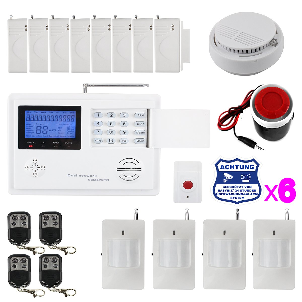 Neue GSM/PSTN Funk Alarmanlage Alarmsystem Set mit Bewegungsmelder/Notfallsender/Warnaufkleber usw.  BaumarktKundenbewertung und Beschreibung