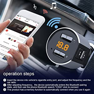 Bluetooth FM Transmitter, Bluetooth Car Adapter Wireless Music Play for Car with Dual USB Ports, Fast Charging and USB Playing Supportable