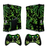 Skin for Xbox 360 Slim Sticker Decals for X360 Custom Cover Skins for Xbox360 Slim Modded Console Game Accessories Set Decal Stickers with 2 Wireless Remote Controllers - Weeds Black